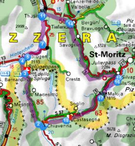 Mappa Spluga Julierpass Maloja