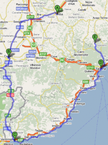Mappa Basso Piemonte e Liguria Sabato