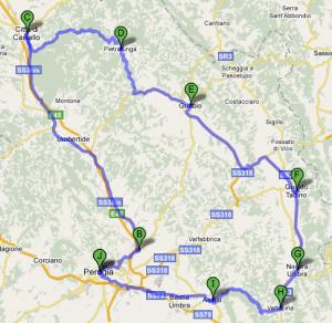 Mappa quarto giorno Umbria
