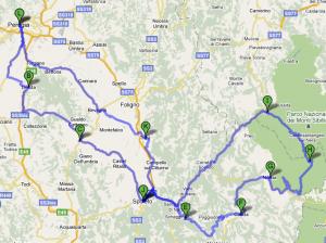 Mappa terzo giorno Umbria
